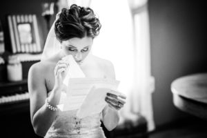 Bride reading a letter