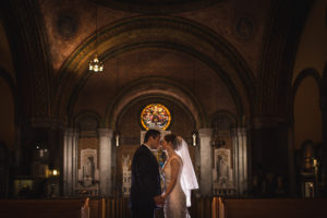 Bride and Groom at St Frances de Sales in Philadelphia