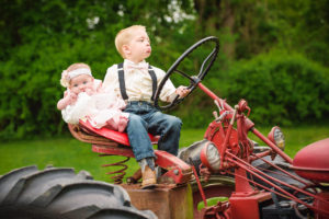 Kid portraits on a tractor in Elkton, MD